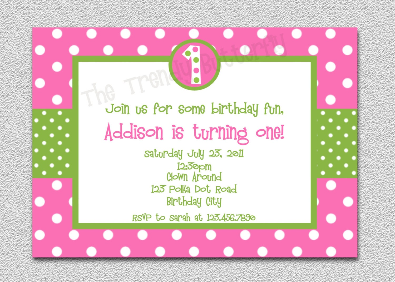 Hot Pink Polka Dot Birthday Invitation Polka Dot Birthday