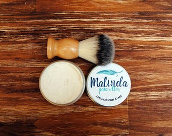Shaving soap , handmade and natural soap , vegan soap , shaving pack , soap and shaving brush . Gift for gentlemen
