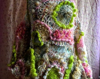 Art to wear freeform Knitted-crocheted sweater mori girl fairy sweater wearable art tunic artsy clothes gypsy bohemian sweater