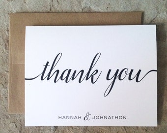 Personalized Thank You Cards - Wedding Thank You Notes - Black and White Thank Yous - set of 10+