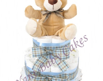 Baby Shower Centerpiece Baby Diaper Cake / Sale/ Puppet Bear Diaper Cake 3 Tier/ Baby Shower Gift and New Baby Gift