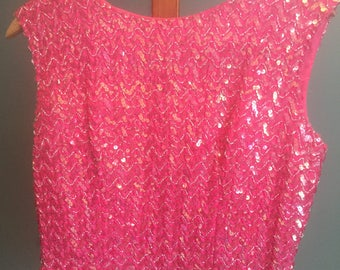 Vintage, 1960s, Pink, Sequin, Sleeveless, Blouse
