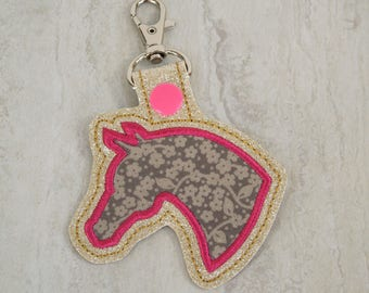 Horse keychain, bag charm, vinyl key fob, keychain for women, gifts under 10 dollars