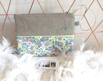 Personalized clutch, linen and Liberty Betsy Lemonade