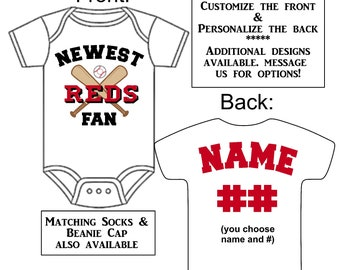 Cincinnati reds baby etsy newest reds fan custom made personalized baseball gerber onesie jersey optional socks hat choose name negle Image collections