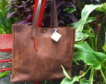 Summer Is Here Sale Soft Brown Leather Tote* Leather Tote* Market Bag* Tote* Large Handbag* Purse* BoHo* Handmade in the USA
