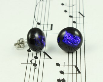 Dichroic Glass Earrings - Blue Violet Fused Glass Stud Earrings, Sparkly Electric Blue Purple & Black - Round Stud Earrings