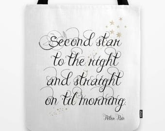 Second Star to the Right and straight on til morning, Childrens Tote Bag, kids Book bag, Peter Pan Tote, book quote, Childs tote, book gift