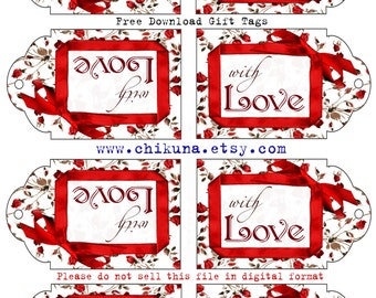 Free printables etsy freebie free printable gift tags with love digital image sheet download tag negle Gallery
