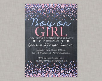 Gender Reveal Invitation, Chalkboard Gender Reveal Invitation, Confetti, Glitter