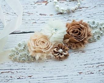 Maternity Sash, Rustic Maternity Sash, Tan Sash, Maternity Belt / Bridal Sash, Bridesmaid Sashes, Ivory Sash  / Flower Girl Sash,