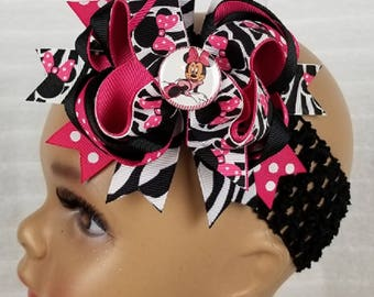 Minnie Boutique Layered Bow - Hot Pink