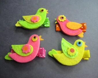 4pcs Felt Bird Hair Clips, Kids Toddlers Girls Barrettes Hair Accessories