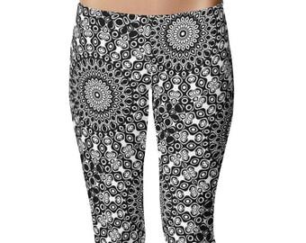 Black Yoga Leggings, Black Leggings, Black and White Printed Leggings, Mandala Art Tights, Black Stretch Pants
