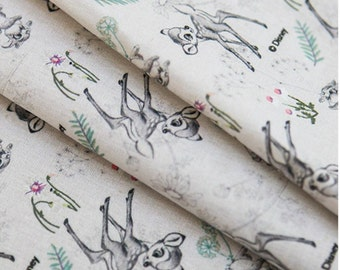 "Botanical Sketch Bambi Fabric made in Korea, Half Yard 45cm  x 150cm 18""x 58"" /Cotton&Linen"