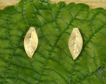Earrings rose gold 585 /-, small autumn leaves