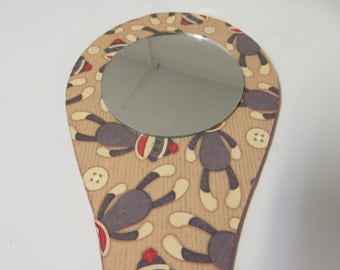 Sock Monkey Handheld Mirror-Makeup Mirror