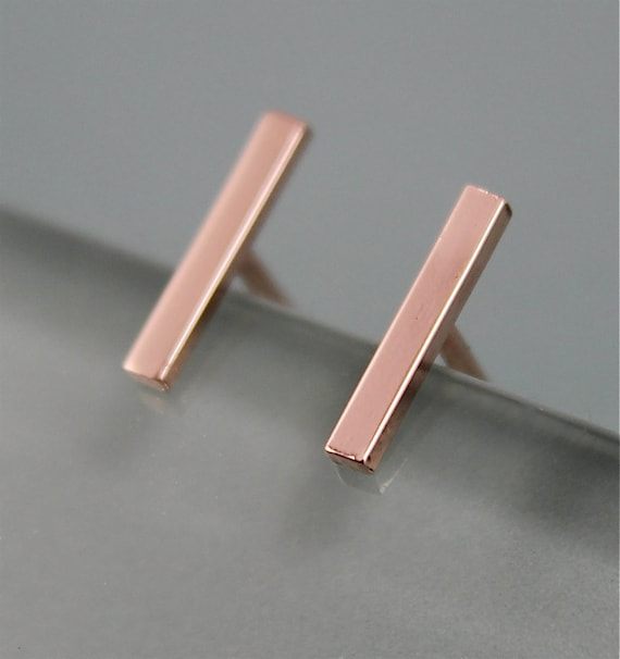 stud earrings tiny line minimalist gold bar pin studs