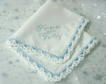 Bridal Handkerchief, Bouquet Wrap, Something Blue, Hand Crochet, Hand Embroidered, Ready to ship