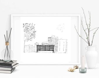 architecture drawing 500 days of summer. 500 Days Of Summer Wall Art, Film Print, Black And White Poster, Movie Architecture Drawing V