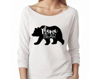 Mama Bear Scoop Neck raw-edge Sweatshirt sweater. Mama bear. Mama Bear gift. mom shirt. mama shirt. mom gift. family shirt.