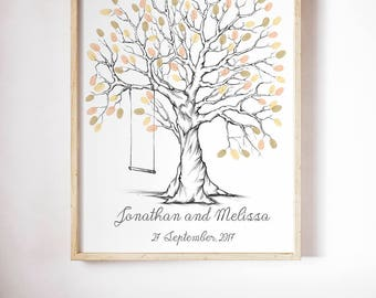 Printable fingerprint tree, Customizable Thumbprint tree, wedding Guestbook,  christening fingerprint tree, birthday fingerprint