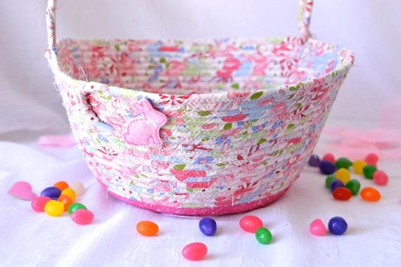 Baby Nursery Organizer, Pink Easter Basket, Flower Girl Basket, Handmade Wedding Basket, Baby Girl Home Decor, Diaper Holder, Lotion Bin