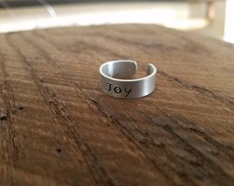 Stamped Ring, Stamped Metal, Adjustable Ring,Joy Ring, Gifts Under 10, Rings