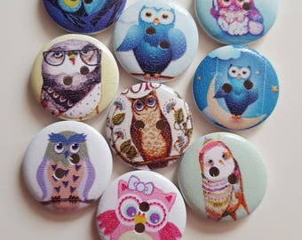 Set of 10 round OWL wooden buttons