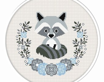 BOGO FREE. Raccoon cross stitch pattern. (#P- 1281). Baby Raccoon Cross Stitch, Nursery Cross Stitch, Animal cross stitch pattern.