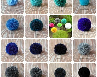 Set of 6 Yarn Pom Poms - Size Large - 3 inch