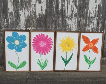 Farmhouse Flowers Wall Art, Framed Floral Paintings, Flower Paintings
