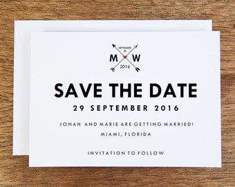 Printable Save the Date Card - Save the Date Template - Instant Download - Save the Date PDF - Hearts and Arrows Save the Date - Monogram