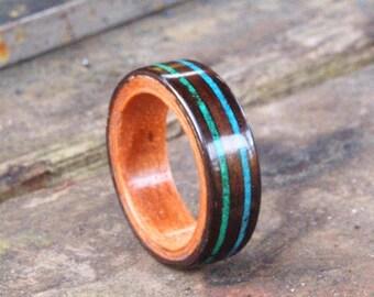 Wooden Rings - Bentwood Ebony & Applewood Stone Inlay Rings - Mens Wood Rings, Womens Wood Rings, Wood Engagement Rings, Wood Wedding Bands