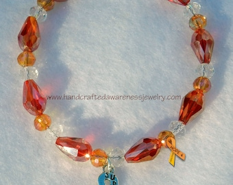 Awareness Bracelet, Survivor Charm, Ribbon Awareness, Crystal Bracelet, Beaded Bracelet, Orange Awareness, Red Awareness