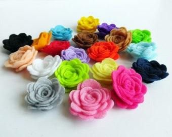 Flores de fieltro, rosas fieltro, flores primavera, flores para tocados y diademas, flores artificiales, aplique flores, flores para decorar