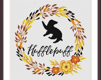 Hufflepuff Floral Crest - Harry Potter Cross stitch pattern PDF Instant Download