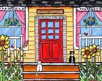 Yellow Seaside Cottage cats - Shelagh Duffett Print