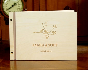 Personalized Wedding Guest Book Rustic Wooden Guestbook Birds Bride and Groom Names