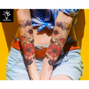 2 Floral Temporary Tattoo Sleeve for Women Tatouage Temporaire Fleur Large Temporary Tattoo Watercolor Flower Tattoo Rose Fake Tattoo Sleeve