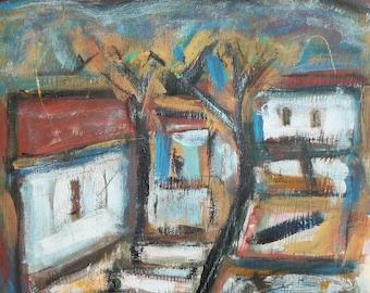 Vintage landscape house oil painting expressionism