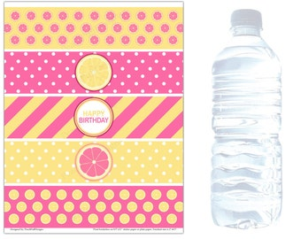 Water bottle labels (INSTANT DOWNLOAD) - Lemonade party - Pink lemonade Birthday - Water bottle stickers BI003