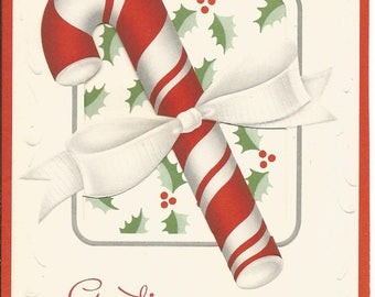 Vintage Set of 3 Christmas Cards Candy Cane Joy