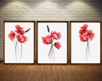 Poppy Art Print Watercolor Painting Set 3 Red Poppy Watercolor Illustration Flower Abstract Minimalist Art Bedroom Wall Decor