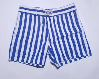 Newport Blue & White Vintage Stripe Pocket Shorts M