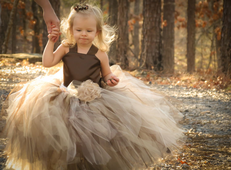 Brown Tulle Flower Girl Dresses
