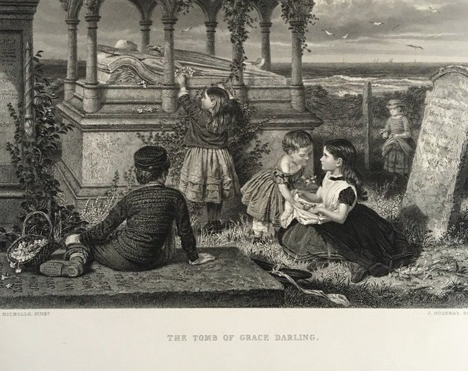 Tomb of Grace Darling 1800s Etching Grave Cemetery