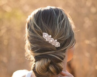 Rose Gold Crystal Bridal Hair Comb, Rose Gold Wedding Hair Comb, Crystal Rhinestone Rose Gold Hair Comb, Crystal Pearl Hair Accessory