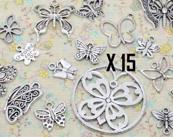 15 x assorted mix metal Butterfly charm