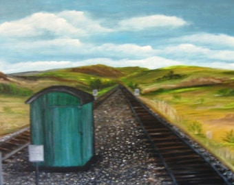High Desert Train Tracks an Original Oil in full color on  24x18x1 canvas